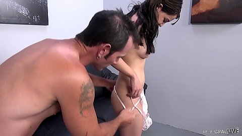 College small tits Steph Carter sucking dick in pov