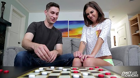 Play a board game with small boobs petite hottie Kacie Castle