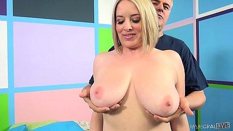 Chubby big juggs Maggie Green gets boobies worshiped