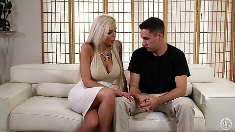 Eager blonde milf Nina Elle fully clothed proceeds to suck dick and deep throat