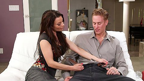 Fully clothed milf Angel Reed puts a big rod in mouth