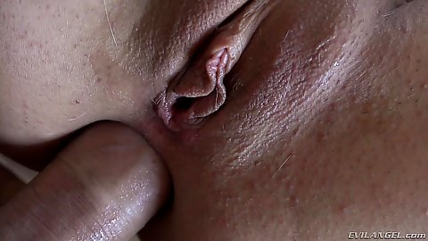 Close up large cock anal penetration on bed with Laela Pryce in pov