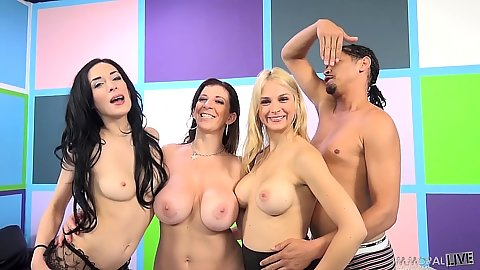Sara Jay and Aiden Ashley with Sarah Vandella join the wild sex party