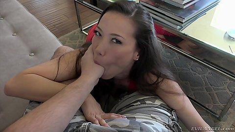 Asian petite Kalina Ryu sucks a thumb and dick in mouth