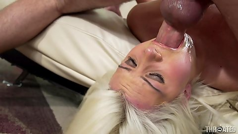 Reverse blowjob deep throat and face fucking gag for Laela Pryce