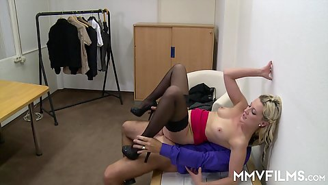 Reverse cowgirl cock riding and floor sex at the office with young Kitty Blair