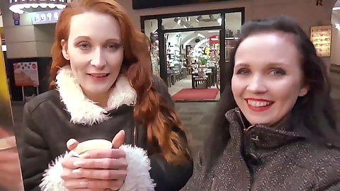 Redhead and brunette Joana And Isabelle picked up on street