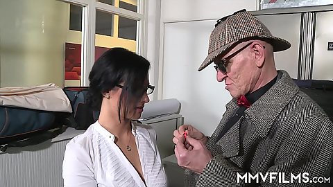 Fully clothed knockout brunette in glasses Sina Velvet cock sucking