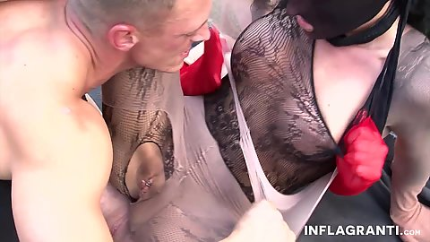 Pantyhose nylon fetish fingering and pussy sex on the grass outdoors
