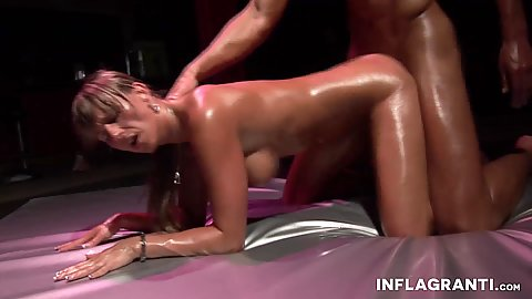 Bent over oil sex with Christina Lee in rear entry pussy sex