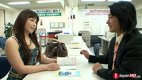Cute asian Ayumu Sena having a chat at the store with kissing