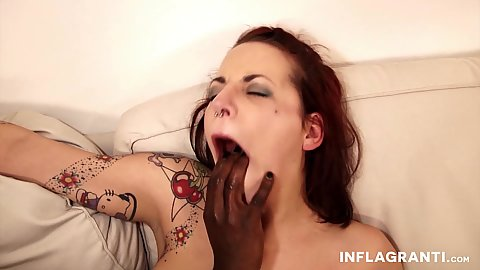 White Minka Prince gets mouth fucked and then gags on really big black dick