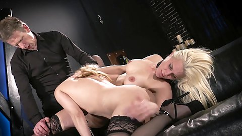 Two sex slaves suck dick in threesome