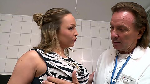 Doctor visit with Honey Diamond getting naked to be dildo probed