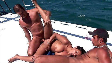 Sexy yacht fuck with foxy Babalu threesome