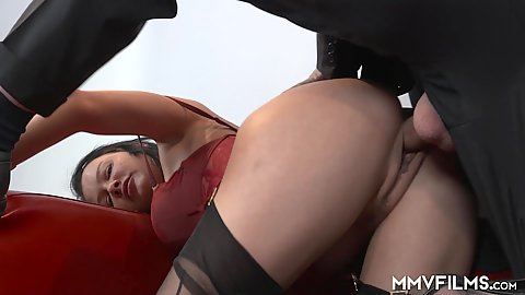 Studio sex with lingerie milf Anna Von Freienwalde enjoying rear pounding