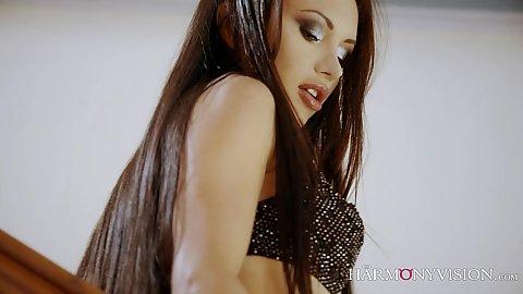 Fantastic brunette babe Sasha Rose posing in lingerie and seducing male