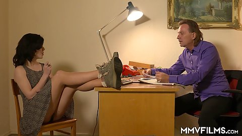 Scarlet Rose puts her legs up on the table at the office revealing great pussy view