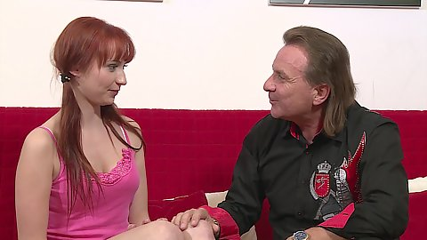 Redhead college student Chelsy Sun and older male
