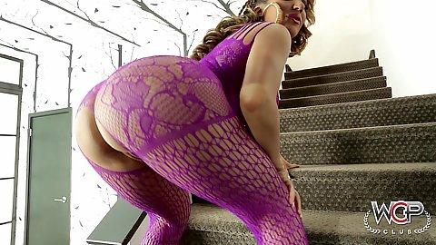 Big round ass milf Richelle Ryan posing in super sexy fishnet lingerie