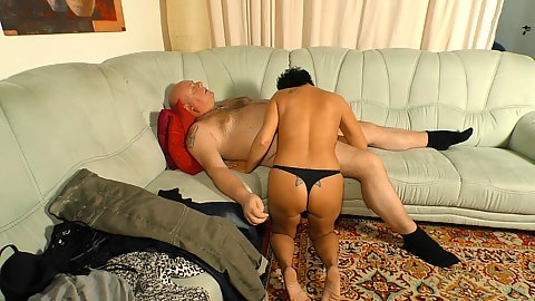 Mature coupel sex on couch