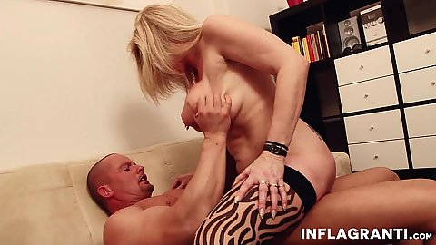 Busty experienced milf Maria Montana with multiple pussy piercings sits on cock