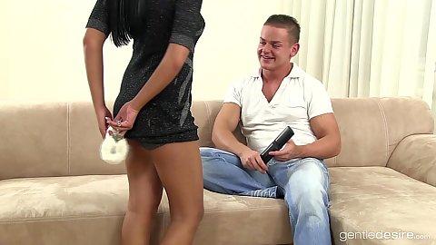 Skinny sensual Mia Manarote making a video with Jay