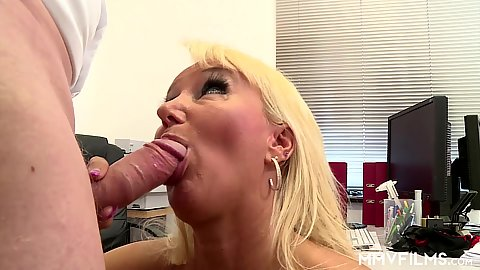 Office horny secretary Kitty Wilder offering oral and plowing on table