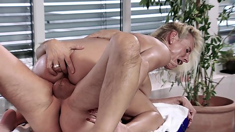 Ass fingering and rough cock riding with blonde milf Lana Vegas