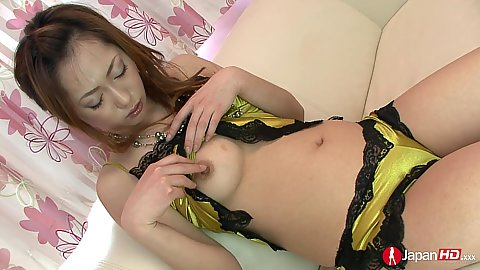 Kinky little asian in cute yellow lingerie Arisa Suzuhusa