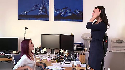 Office lesbian love machines Natalie Hot and friend