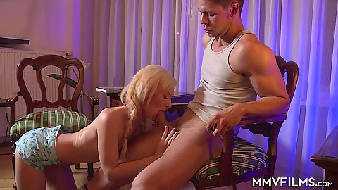 Nathaly Cherie skinny cock sucking and snappy sex lessons