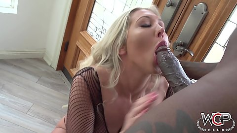 Big black dick getting deep throated by aroused white milf Lexi Lowe