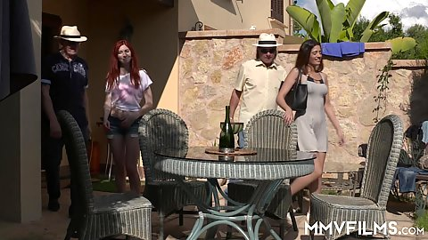 Enticing sluts with Linda Sweet join outdoor brunch
