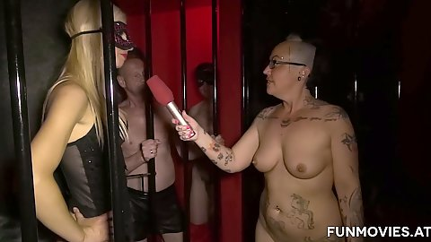 Fetish group interview with Susi Müller in a cage