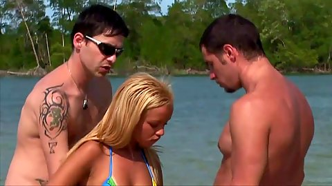 Blonde latina in bikini Barbie Banks touched and used by two men
