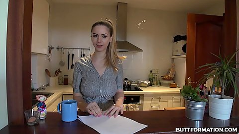 Stella Cox checks her list and proceeds to do workout and stretching in hotpants