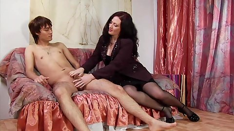 Fully clothed cnfm milf Paloma Sanchez loves to bed younger boys