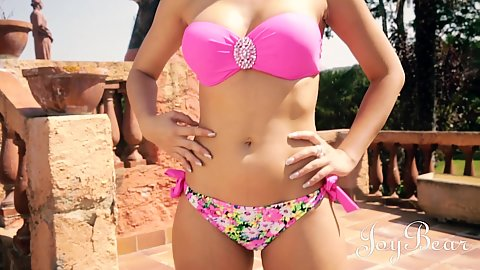Bathing suit latina Julia De Lucia posing body outdoors