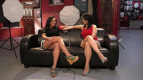 Maria Mia and her friend doing a interview