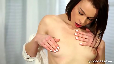 Small titties solo girl Rebecca touching her wet dripping vagina