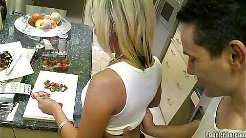 Sexy 18 year old Kody is playing with her strawberries