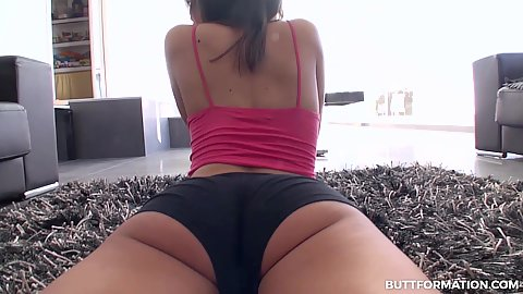 Sporty ass in workout shorts Ena Sweet stretching