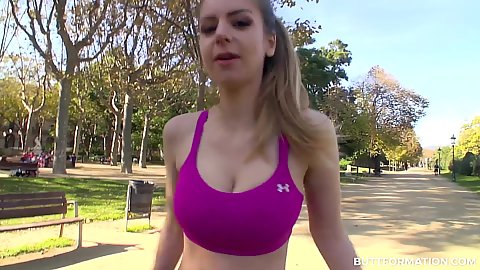 Workout bra and tight shorts with bouncy workout Stella Cox