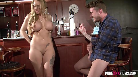 Beautiful milf curvy body Stacey Saran licked on bar table
