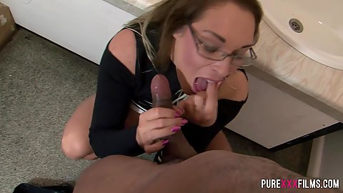 Interracial half dressed dick sucking Victoria Summers