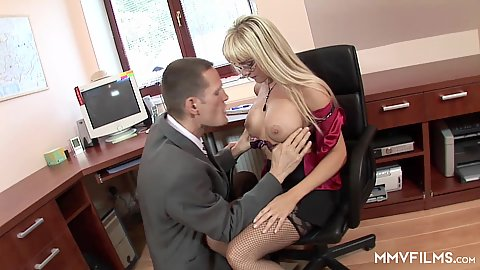 Office big boobs milf Natalli Di Angelo tits touching and pussy fingering