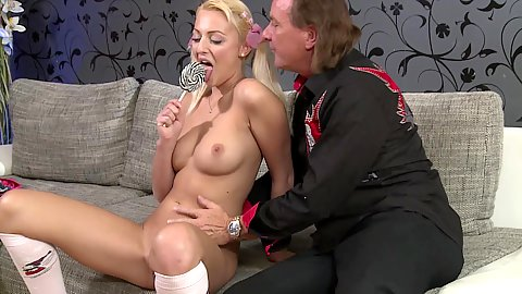 Young college whore Katy Rose and old mans dick in oral