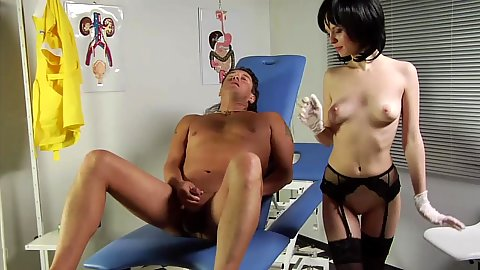 Dirty hospital nurse Julia De Lucia peggs male patient with latex gloves and toy