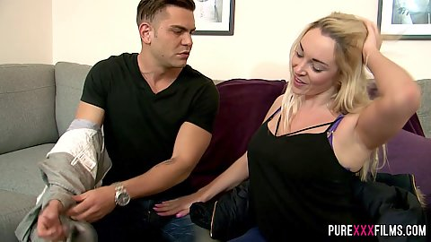 Blonde milf Victoria Summers takes off clothes then does oral with titty fuck